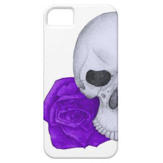 スカルおよび紫色のバラ iPhone SE/5/5s ケース