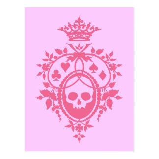 スカルおよびCardsuitsのピンクの頂上 ポストカード