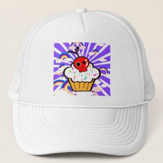 スカルのさくらんぼのカップケーキの虹の空 キャップ