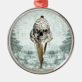 スカルのアイスクリームコーンのイラストレーション メタルオーナメント