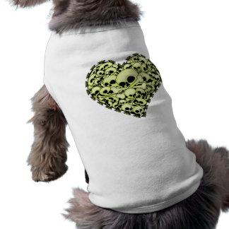 スカルのハート-緑 ペット服