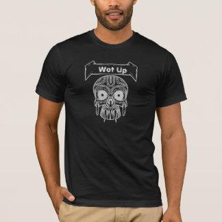 スカルの上のTシャツ黒いWot Tシャツ
