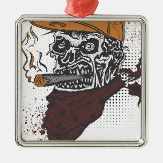 スカルの喫煙 メタルオーナメント