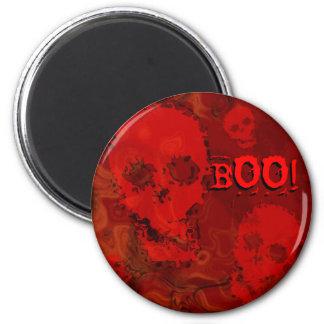 スカルの幽霊の赤い「ブーイング!」 冷蔵庫用マグネット マグネット