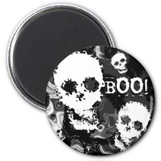 スカルの幽霊B&W 「ブーイング!」 冷蔵庫用マグネット マグネット