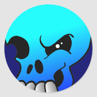 スカルの悪魔の青のステッカーのまばたき ラウンドシール