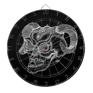 スカルの悪魔の頭部の白黒デザイン ダーツボード