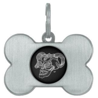 スカルの悪魔の頭部の白黒デザイン ペットネームタグ