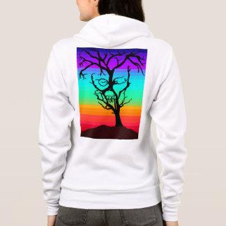 スカルの木のフード付きスウェットシャツ パーカ