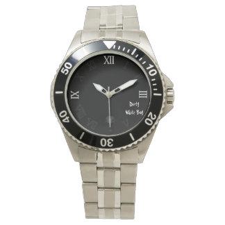 スカルの汚れた白い男の子の腕時計 腕時計