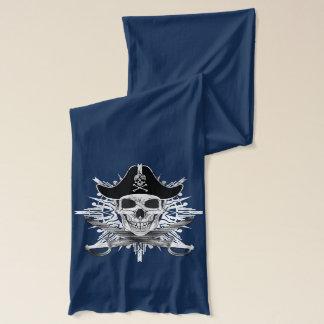 スカルの海賊およびカットラスの黒いジャージーのスカーフ スカーフ