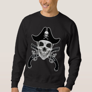 スカルの海賊及びフリントロック式のピストル基本的なスエットシャツ スウェットシャツ