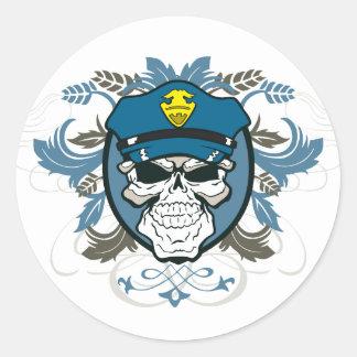 スカルの警官 ラウンドシール