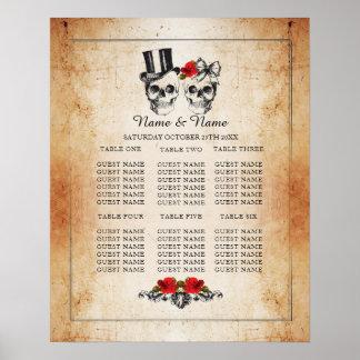 スカルの赤いバラのテーブルの計画の結婚式ポスター座席 ポスター