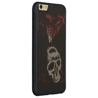 スカルの赤い煙Vape CarvedメープルiPhone 6 Plusバンパーケース