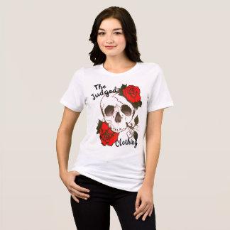 スカルの赤rosed thejudged女性のTシャツ Tシャツ