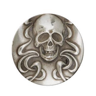 スカルの骨組死のゴシックの旧式な銀器 磁器プレート