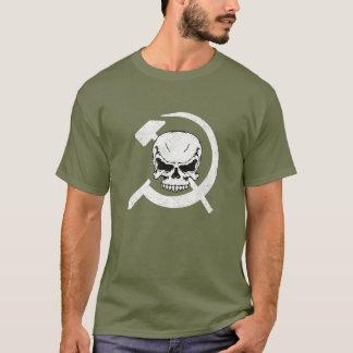 スカルを搭載するソ連国旗 Tシャツ