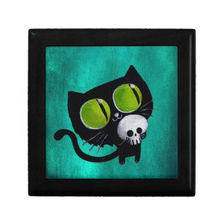 スカルを搭載するハロウィン黒い猫 ギフトボックス