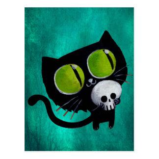 スカルを搭載するハロウィン黒い猫 ポストカード