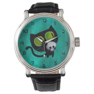 スカルを搭載するハロウィン黒い猫 腕時計