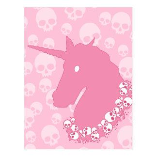 スカルを搭載するピンクのユニコーン ポストカード