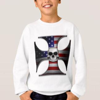 スカルを搭載する米国旗の鉄の十字 スウェットシャツ