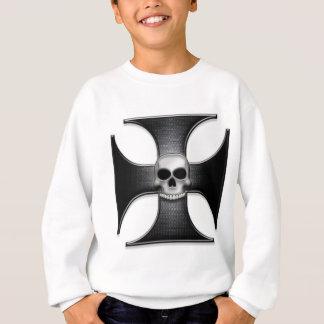 スカルを搭載する黒い鉄の十字 スウェットシャツ