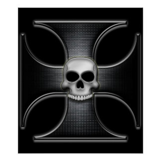 スカルを搭載する黒い鉄の十字 ポスター
