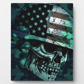 スカルアメリカの兵士の死んだゾンビ フォトプラーク