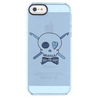 スカル及びかぎ針編みホック(ちょうネクタイ及び青い背景) クリア iPhone SE/5/5sケース