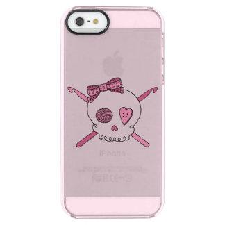 スカル及びかぎ針編みホック(毛の弓及びピンクの背景) クリア iPhone SE/5/5sケース