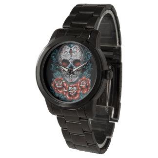 スカル及びバラの特大黒い腕時計 腕時計