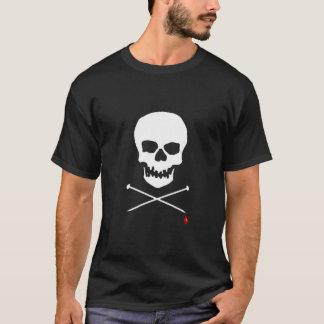 スカル及び針の黒いTシャツ Tシャツ