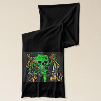 スカル及び骨が交差した図形の煙および火 スカーフ