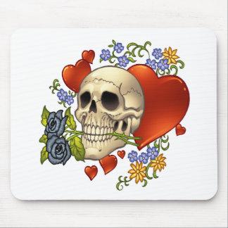 スカル愛-スカル、バラおよびAlリオによるハート マウスパッド