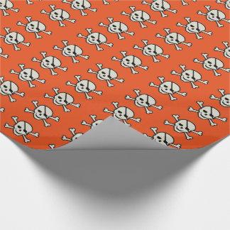 """スカル-オレンジ光沢のある包装紙、30"""" x 15' ラッピングペーパー"""