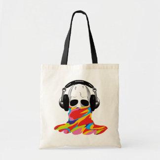 スカル: ヘッドホーン及び虹のカムフラージュ トートバッグ