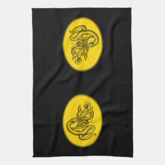 スカル-ヘビが付いている悪魔の頭部 キッチンタオル