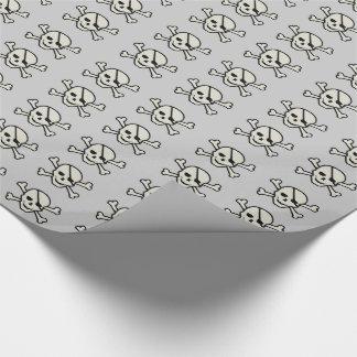 スカル-薄い灰色の光沢のある包装紙 ラッピングペーパー