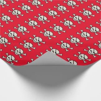 """スカル-赤い光沢のある包装紙、30"""" x 15' ラッピングペーパー"""