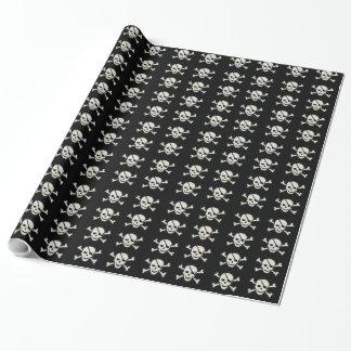 """スカル-黒い光沢のある包装紙、30"""" x 15' ラッピングペーパー"""