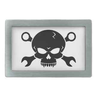 スカル「n」用具-ねじで締めて下さい海賊2 (黒)を 長方形ベルトバックル