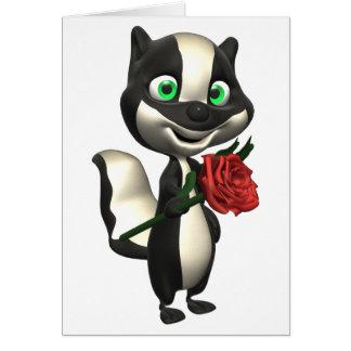 スカンクおよび赤いバラの挨拶状 カード