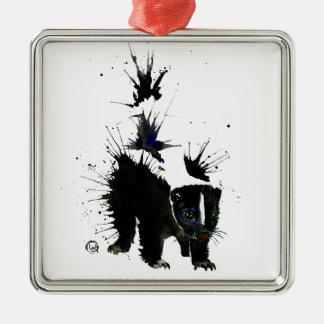 スカンクの水彩画の絵画 メタルオーナメント