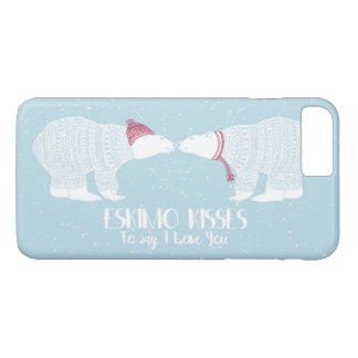 スカンジナビアくま愛エスキモーのキスの雪の冬 iPhone 8 PLUS/7 PLUSケース