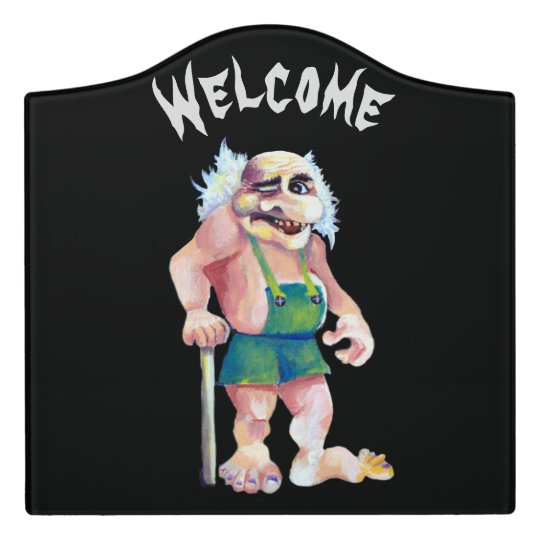 スカンジナビアのおもしろいな見る歓迎するトロール ドアサイン