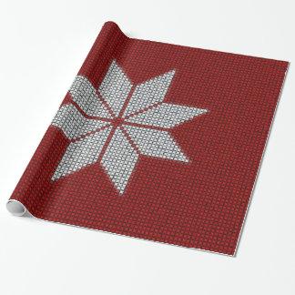 スカンジナビアの雪片の十字のステッチの包装紙 包み紙