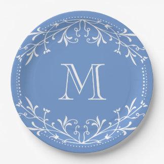 スカンジナビアの青および白くスタイリッシュなモノグラム ペーパープレート