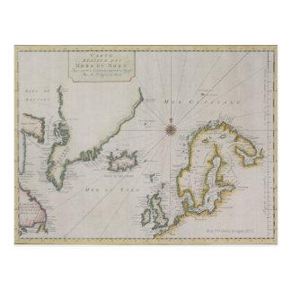 スカンジナビア2の旧式な地図 ポストカード